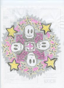 This whimsical punk mandala was inspired by a visit to the Hot Topic store at the mall