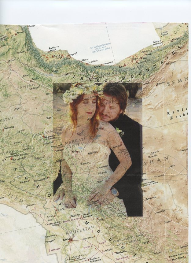 Our wedding, superimposed over a map