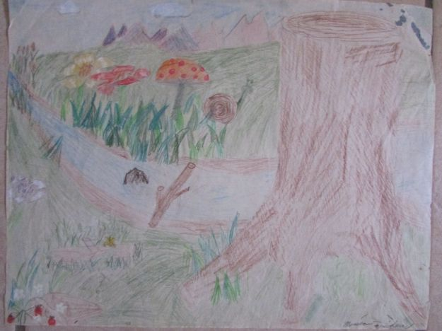 This is the oldest drawing of mine I can lay hands on; my mother probably has something older. It's dated 1986, so I was 11 and in 6th grade.
