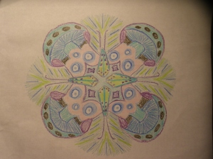 A caddisfly themed mandala for an entomologist friend