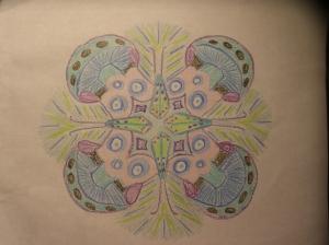 A caddisfly themed mandala for an entomologist friend