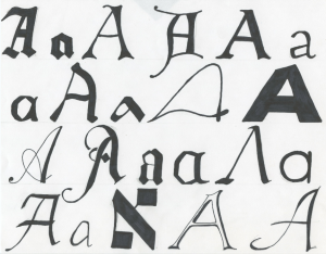 For every chapter of the Alphabet of Desire, I also do a page of hand drawn letters in various fonts, which serves as a centering exercise.