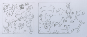 Exercise 1: Draw a box with 4 sides, and, in 5 minutes, fill it with as many animals as possible in the box. Then, draw a box with 3 sides, and in 5 minutes, draw as many animals as possible escaping the box.