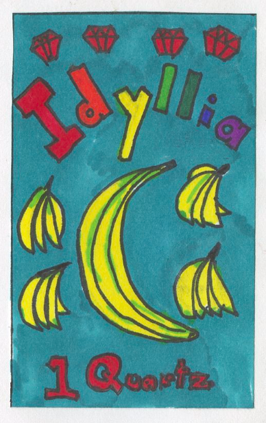 Especially proud of this stamp. The economy of Idyllia is based on semi-precious stones. It is a island founded by dragons and covered with banana trees. I am the queen.