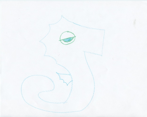 This is what it looks like when I try to draw a seahorse from my own imagination with no referential images.
