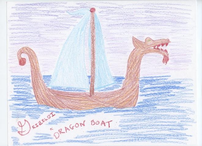 Grizeldi, a Dragon Boat. Grizeldi is a working dragon