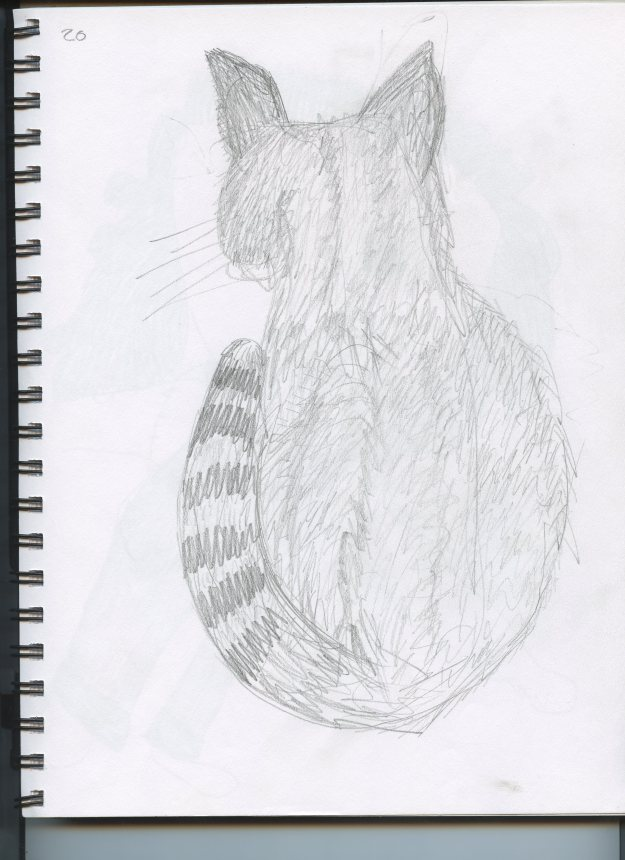 This is actually a sketch of Algernon, who passed away a few weeks ago. If Lupin noticed I was drawing her portrait she would deliberately move every 15 seconds.