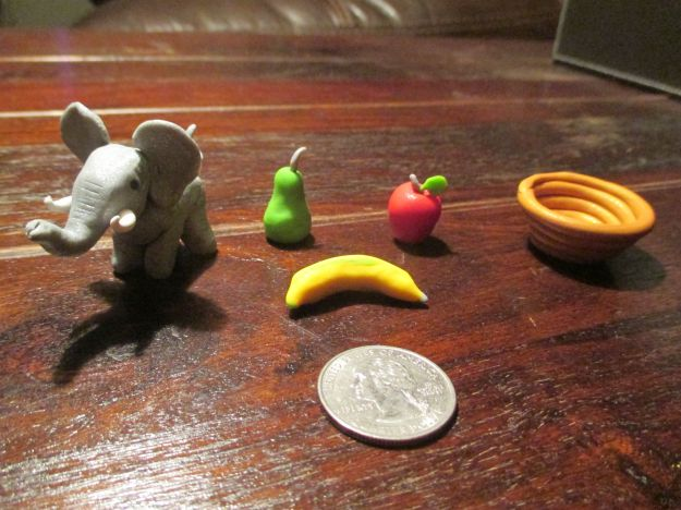 The fruits of my labors. The quarter is for scale. I didn't have a banana because I made pancakes out of them.