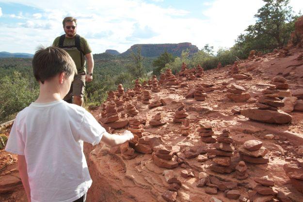 Rows of rock balances