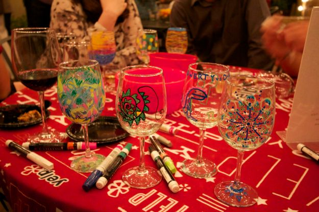 Mandala wineglass is on the right, seen with Dragon and a bunch of other decorated wineglasses.