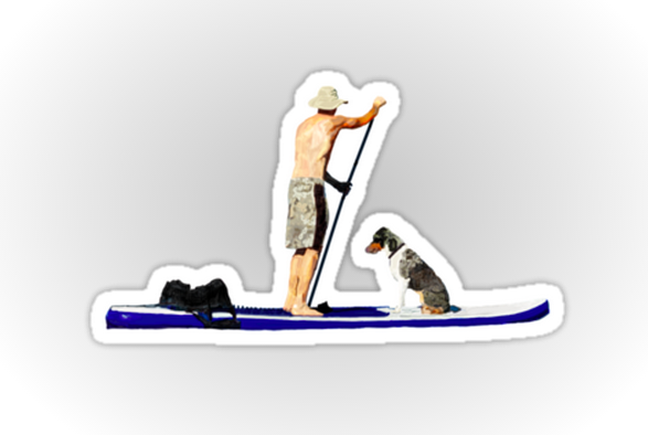 Johnny the paddleboarding dog in sticker form.