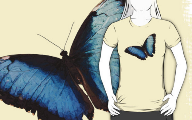 The Blue Morpho Butterfly on the organic women's T.