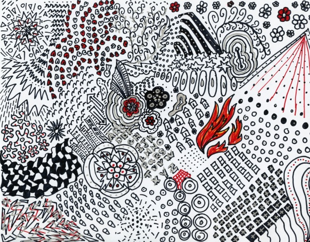 All Sharpies, all the time: black, red, silver.