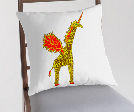 This is what a giralicorn throw pillow looks like.